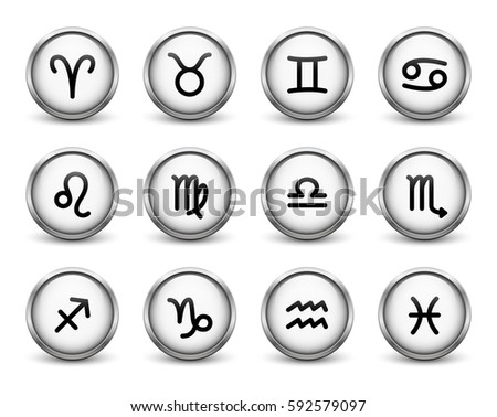 Set of zodiac symbols, white buttons with metal frame and shadow