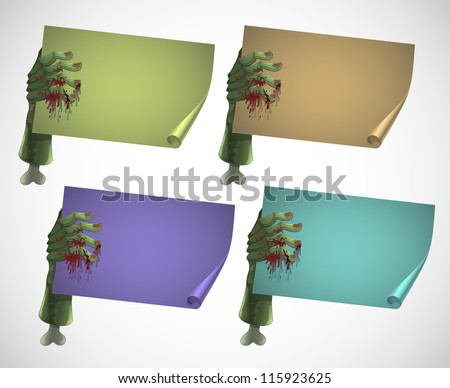 set of zombie hands holding blank colorful banners