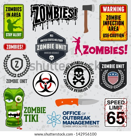set of zombie signs  graphics