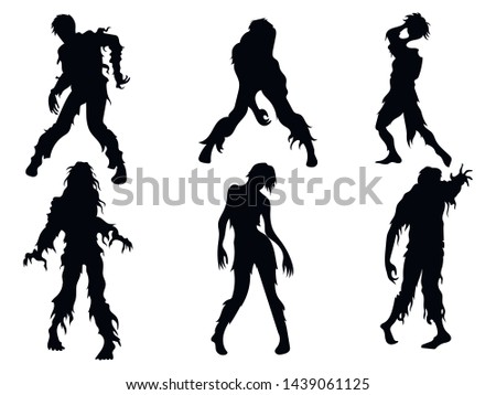 set of zombie silhouettes a