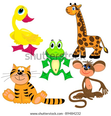 set of zoo animals.vector illustration. cute characters.isolated on white background