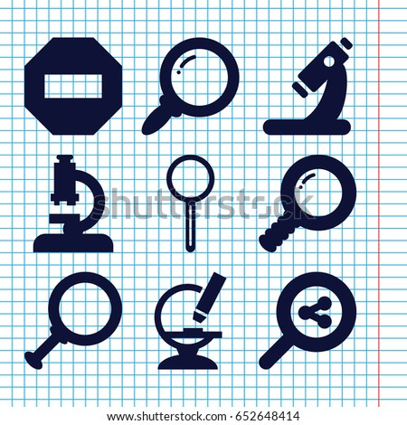 set of 9 zoom filled icons such