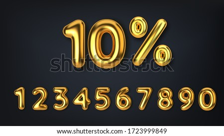 Set off discount promotion sale made of realistic 3d gold balloons. Number in the form of golden balloons. Template for products, advertizing, web banners, leaflets, certificates and postcards. Vector