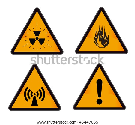 set ofindustrial warning signs (radiation, alarm, flame, wi-fi)