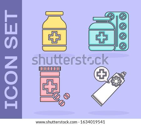 Set Ointment cream tube medicine, Medicine bottle, Medicine bottle and pills and Medicine bottle and pills icon. Vector