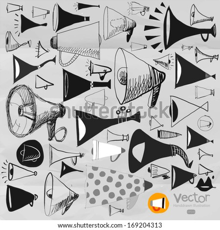 set on hand drawn Scribble megaphone vector
