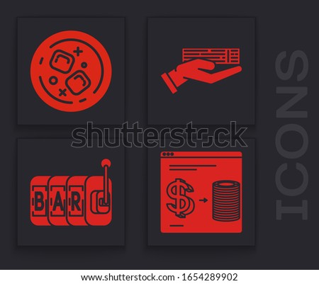 Set Online casino chips exchange on stacks of dollars, Glass of whiskey and ice cubes, Hand holding deck of playing cards and Slot machine icon. Vector