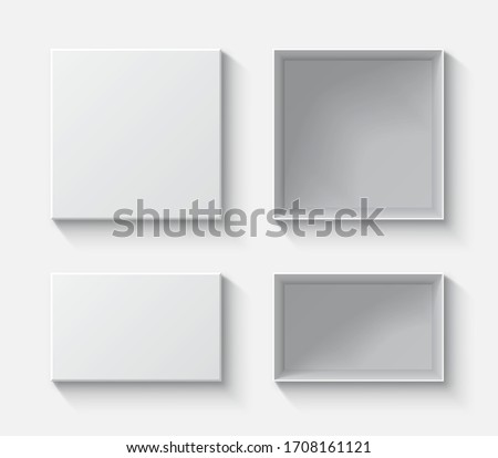 Set open and close gift boxes, white square box top view, container mockup, empty carton package, realistic paper box - stock vector