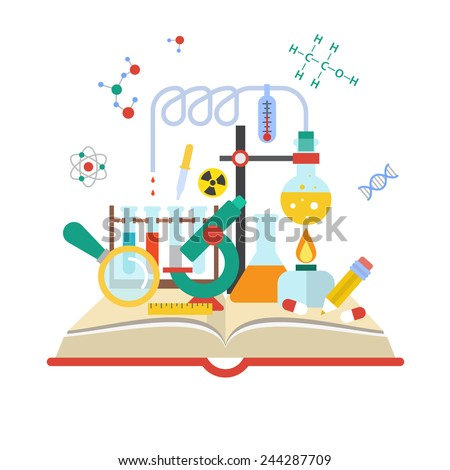 Set open book about science of chemistry