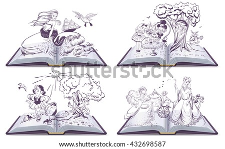 set open book fairy tale