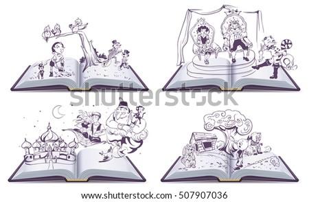 set open book illustration tale