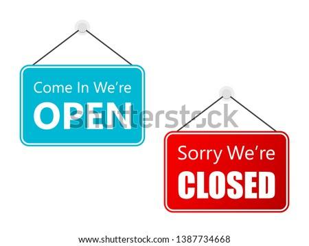 Set Open Closed Sign door Illustration