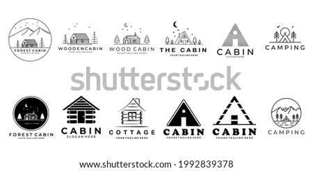 set or bundle cabin logo vector  symbol icon  illustration design