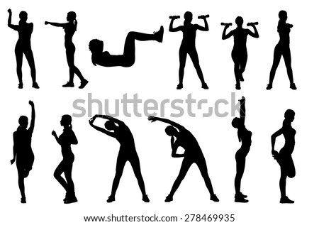 Set or collection of various woman sports exercising silhouettes. Easy editable layered vector illustration. #278469935