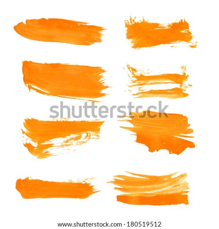 Set orange gouache realistic thick paint strokes