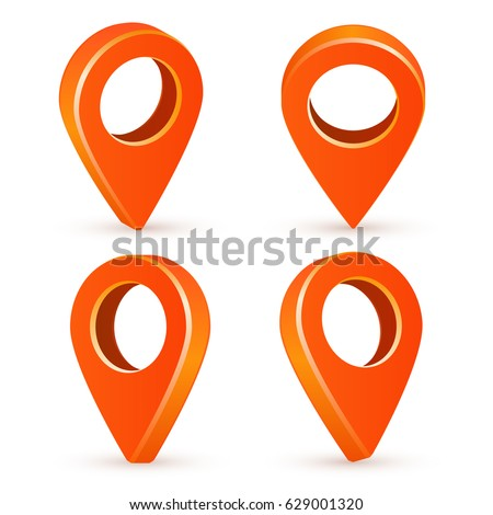 Set orange map pointers. Map pointer 3d icons. Vector image isolated on a white background.