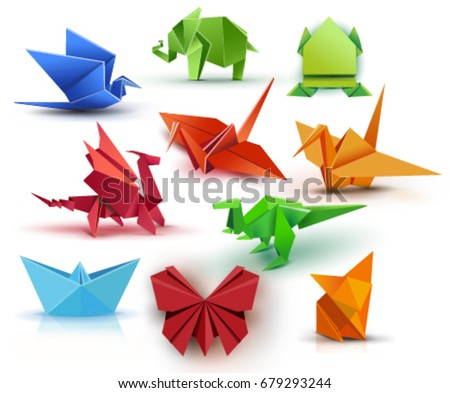 Set origami butterfly, crane, frog, elephant, dragon, ship, dinosaur, fox. Paper set origami.