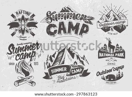 set outdoor camp typography...
