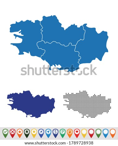Set outline maps of Brittany Foto stock ©