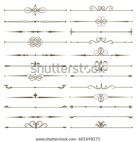 Set page dividers. Antique decorative elements. Vector illustration