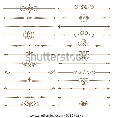 Set page dividers. Antique decorative elements. Vector illustration