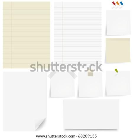 Set Paper And Sticky, Pushpin, White Background