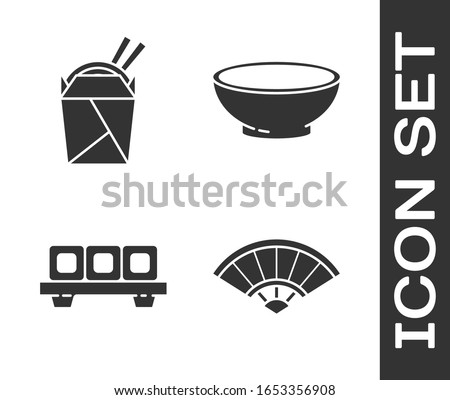 Set Paper chinese or japanese folding fan, Asian noodles in paper box and chopsticks, Sushi on cutting board and Bowl of hot soup icon. Vector