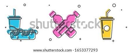 Set Paper glass with drinking straw and hotdog, Crossed bottle of water and Paper glass with drinking straw and water icon. Vector