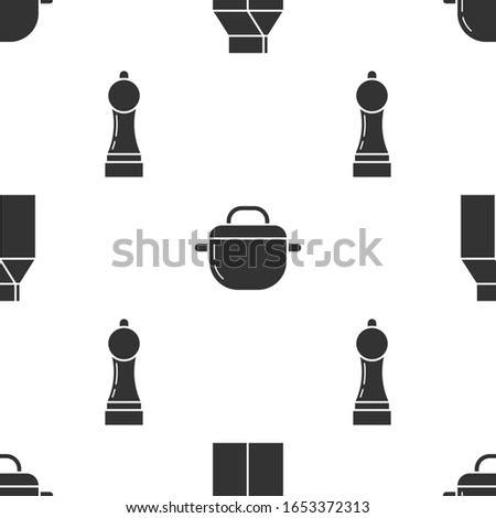 Set Paper package for milk , Cooking pot  and Pepper  on seamless pattern. Vector