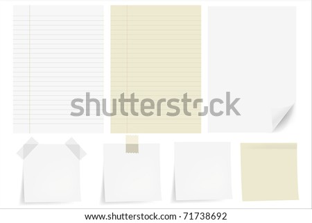 Set Papers, Isolated On White Background, Vector Illustration