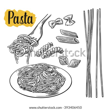 Set pasta on fork and plate. Farfalle, conchiglie, penne, fusilli, spaghetti. Vector vintage black illustration isolated on white background.