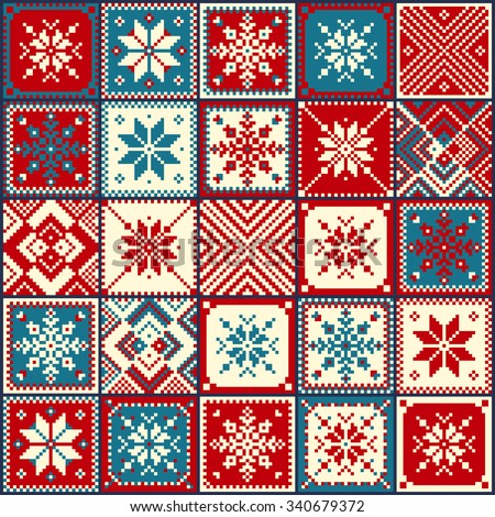 Set Patchwork Knitted With A New YearS Snowflake Motif. Christmas Backgr...