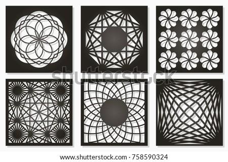 Set Pattern Geometric Ornament Card For Laser Cutting Element Decorative Design
