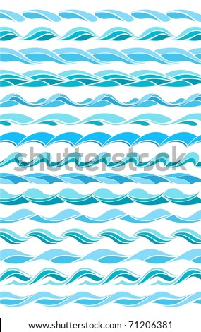 set patterns marine waves - stylized design