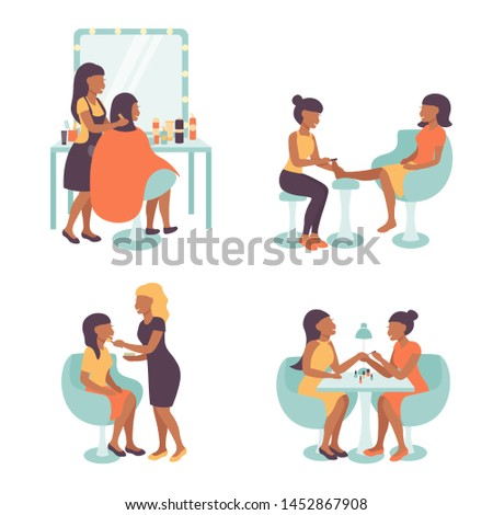 Set pedicure and manicure, visage and hairdress salon illustration, characters  pedicurist, manicurist, hairdresser stylist and visagist women working. Flat vector illustration.