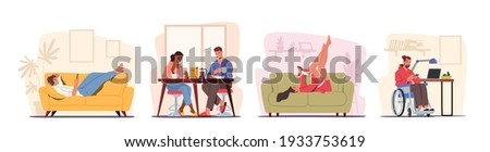 Set People at Home with Phones. Couple Sit at Table Having Breakfast with Smartphones in Hands. Men and Women Characters Relax at Home with Digital Device, Communication. Cartoon Vector Illustration