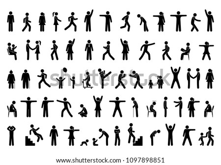 Set people icon, action pictogram black, stick figure human silhouettes, various man postures and movements, vector symbols Stockfoto ©