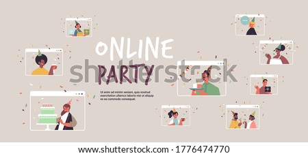 set people in festive hats celebrating online birthday party mix race men women in computer windows celebration self isolation quarantine concept portrait horizontal copy space vector illustration