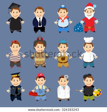 Set people with professions. Flat avatars.
