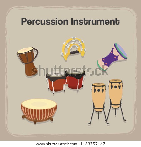 Set Percussion Instrument with Realistic Style