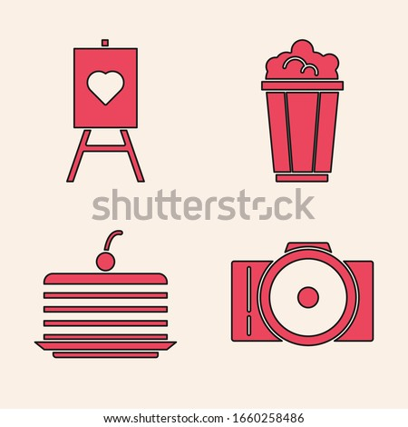 Set Photo camera, Wood easel or painting art boards, Popcorn in cardboard box and Cake icon. Vector