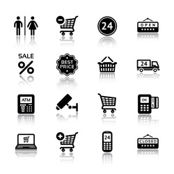 Set pictogram supermarket services, Shopping Icons