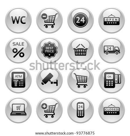 Set pictogram supermarket services, Shopping Icons, Gray round buttons - stock vector