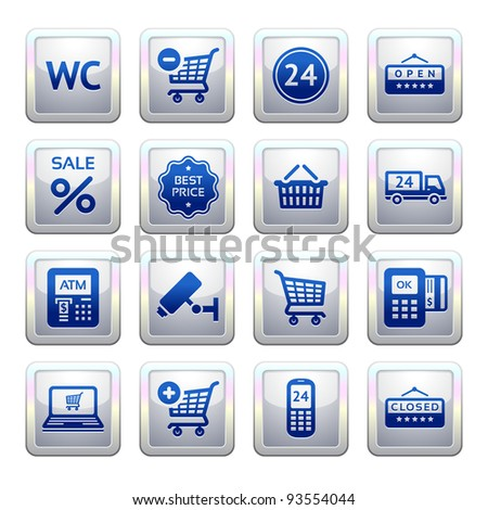 Set pictogram supermarket services, Shopping symbols. Blue. Web 2.0 icons