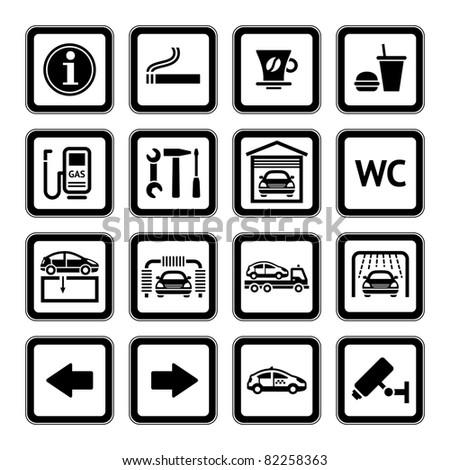 Set pictograms. Car services. Gas station. Symbols Roadside services. Black