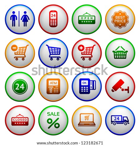 Set pictograms supermarket services, Shopping Icons. Colorful round buttons