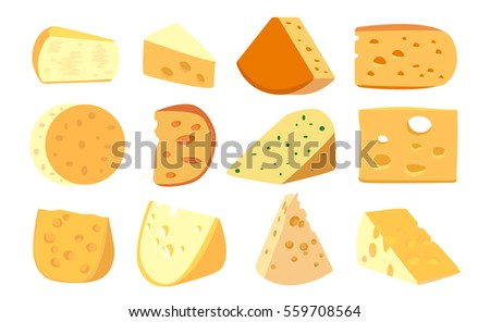 Set pieces of cheese, isolated on white background, illustration.