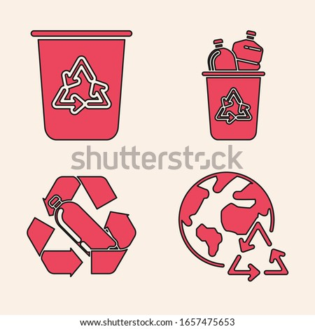 Set Planet earth and a recycling, Recycle bin with recycle symbol, Recycle bin with recycle symbol and Recycling plastic bottle icon. Vector