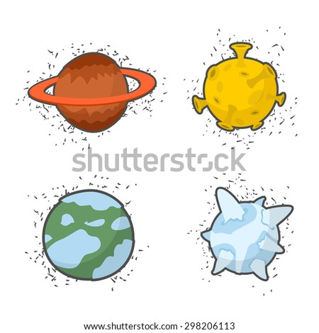 set  planets on a white