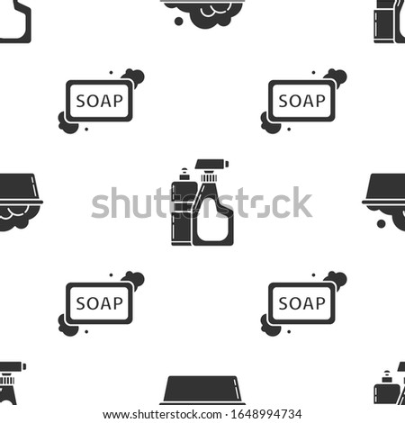 Set Plastic basin with soap suds , Plastic bottles for liquid dishwashing liquid and Bar of soap with foam  on seamless pattern. Vector